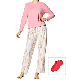 HUE Fleece Pop The Cork Pajama Set With Socks