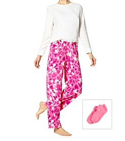 HUE 3 Piece Fleece Heart Burst Pajama Set With Socks
