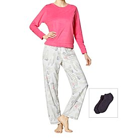 HUE 3 Piece Fleece Polar Bear Pajama Set With Socks