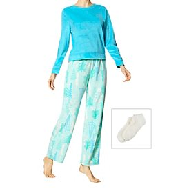 HUE 3 Piece Long Sleeve Fleece Nod To Nature Pajama Set With Socks