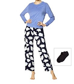 HUE 3 Piece Fleece Penguin Pajama Set With Socks