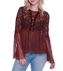 Skylar & Jade by Taylor & Sage Lace Up Front Floral Lace Top