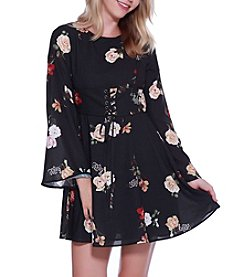 Skylar & Jade by Taylor & Sage Bell Sleeve Floral Printed Dress