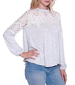 Skylar & Jade by Taylor & Sage Lace Yoke Top