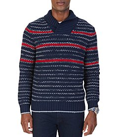 Nautica Men's Striped Shawl Collar Sweater