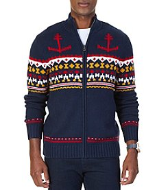 Nautica Men's Fair Isle Mock Neck Zip Sweater