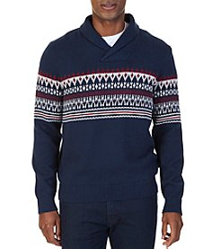Nautica Men's Fair Isle Shawl Collar Sweater