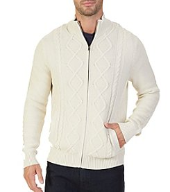 Nautica Men's Full Zip Cable Knit Sweater