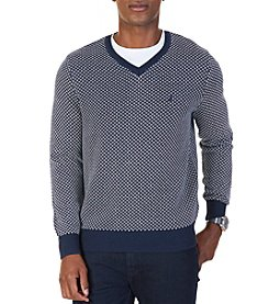 Nautica Men's Birdseye Jacquard V-Neck Sweater