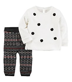 Carter's Baby Girls' 2 Piece French Terry Top And Knit Legging Set