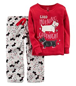 Carter's Girls' 12M-8 2 Piece Morning Dog Fleece Pajama Set