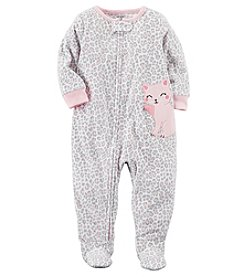 Carter's Baby Girls' 12M-14 One Piece Leopard Print Kitty Fleece Pajamas