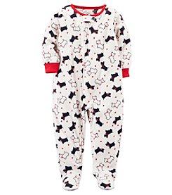 Carter's Baby Girls' 12M-4T One Piece Scotty Dog Fleece Pajamas