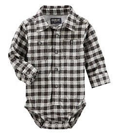OshKosh B'Gosh Baby Boys' Button Front Plaid Flannel Bodysuit