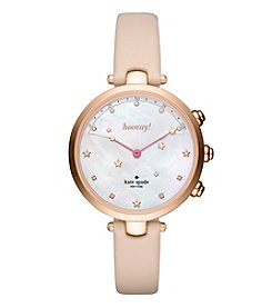 Kate Spade Womens Rose Goldtone Holland Hybrid Leather Watch