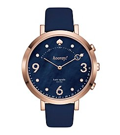 kate spade new york Women's Rose Goldtone Hybrid Blue Leather Monterey Watch