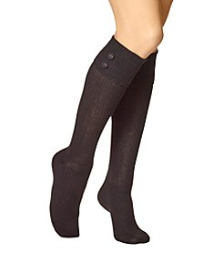 HUE Ribbed Knee Socks With Button