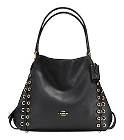 COACH EDIE 31 SHOULDER BAG WITH COACH LINK DETAIL IN MIXED LEATHERS