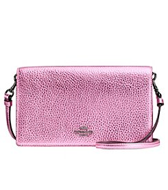 COACH FOLDOVER CROSSBODY CLUTCH IN METALLIC POLISHED PEBBLE LEATHER