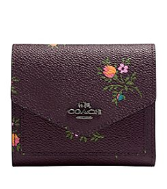COACH SMALL WALLET WITH CROSS STITCH FLORAL PRINT IN COATED CANVAS