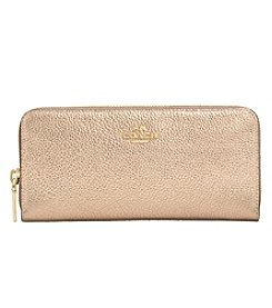 COACH SLIM ACCORDION ZIP WALLET IN METALLIC PEBBLE LEATHER