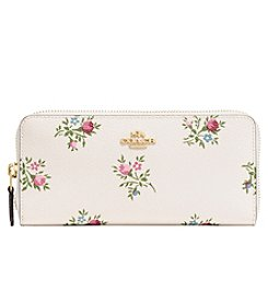 COACH Slim Accordion Zip Wallet with Cross Stitch Floral Print