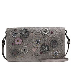 COACH FOLDOVER CROSSBODY CLUTCH WITH METAL TEA ROSE TOOLING WITH APPLIQUE IN GLOVETANNED LEATHER