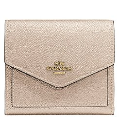 COACH SMALL WALLET IN METALLIC PEBBLED LEATHER