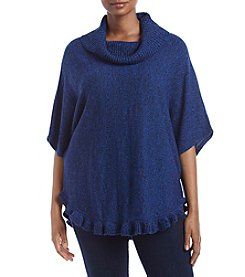 Studio Works Plus Size Cowl Neck Poncho With Ruffles