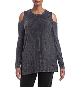 MICHAEL Michael Kors Plus Size Sparkle Cold Shoulder Top