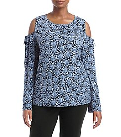MICHAEL Michael Kors Plus Size Jewel Cold Shoulder Top