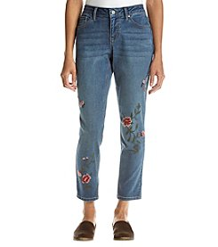 Earl Jean Petites' Humming Bird Embroidery Jeans