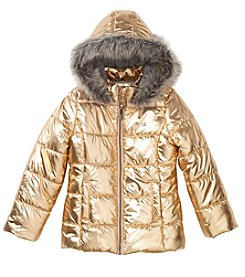 Calvin Klein Girls' 7-16 Metallic Puffer Jacket