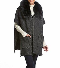 Steve Madden Thick Knit Topper With Flat Faux Fur Collar