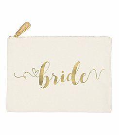 Cathy's Concepts Gold Foil Bride Canvas Clutch