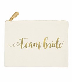 Cathy's Concepts Gold Foil Team Bride Canvas Clutch
