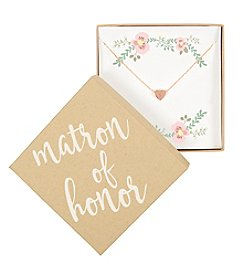 Cathy's Concepts Personalized Matron of Honor Rose Gold-Plated Heart Slide Pendant Necklace