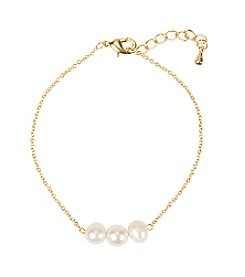 Cathy's Concepts Gold-Plated Three-Pearl Bracelet