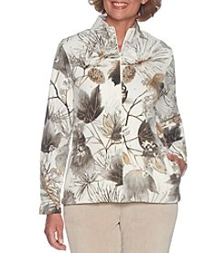 Alfred Dunner Nature Print Zip Up Jacket