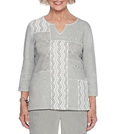Alfred Dunner Colorblock Lace Detail Top