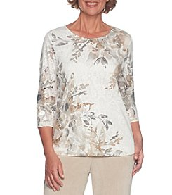 Alfred Dunner Jewel Detail Floral Print Top