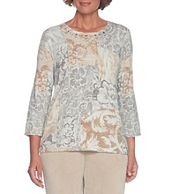 Alfred Dunner Patch Floral Pattern Jewel Detail Top
