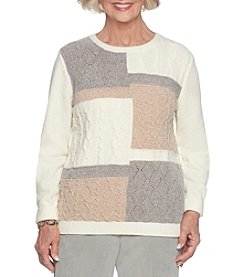 Alfred Dunner Colorblock Textured Sweater