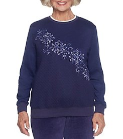 Alfred Dunner Long Floral Embroidery Quilted Pullover