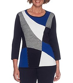 Alfred Dunner 3/4 Sleeve Colorblock Sweater