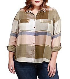 Lucky Brand Plus Size Plaid Button Up Top