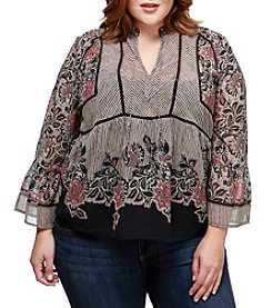 Lucky Brand Plus Size Floral Print Sheer Top