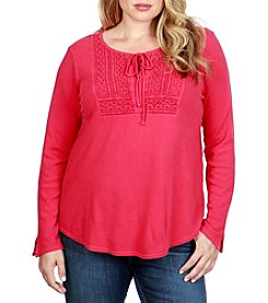 Lucky Brand Plus Size Tie Front Lace Bodice Thermal Top