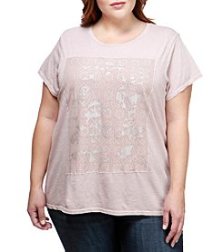 Lucky Brand Plus Size Printed Lace Top