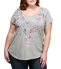 Lucky Brand Plus Size Floral Embroidered Top